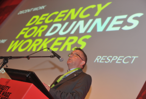Gerry Light launching the Decency for Dunnes Workers Campaign